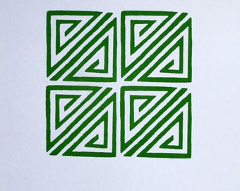 Chinese Geometric Design in Green - limited edition screenprint