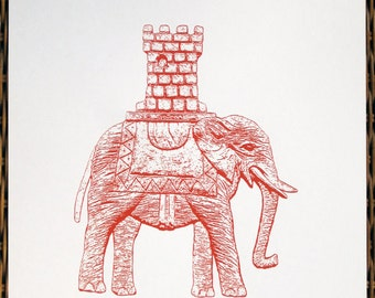 Elephant and Castle in Red - limited edition screenprint