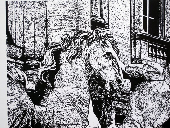 Rome : Trevi Fountain, Triton and Seahorse - limited edition screenprint