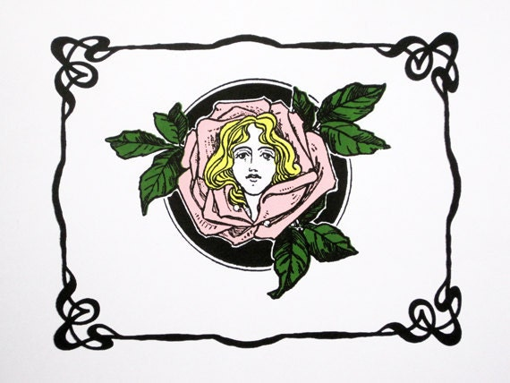 Art Nouveau : Girl with Rose Garland - limited edition screenprint