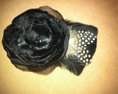 Black flower and feather hair clip or brooche
