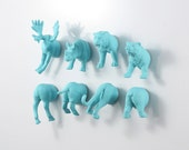 Jungle versus Forest Magnet Animal Set: Moose - Bear - Tiger - Rhino - 8 piece set