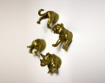 Jungle Wild Animal Magnets - 4 piece set in Gold Tiger & Rhinoceros (F4-2)