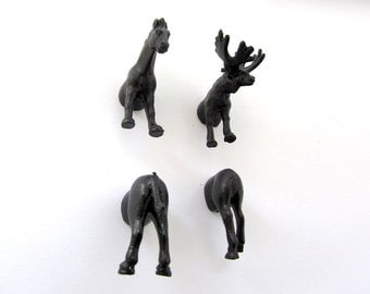 North American Animal Magnets - 4 piece set -  Black Moose and Horse Guy Magnets - Perfect Fathers Day Gift