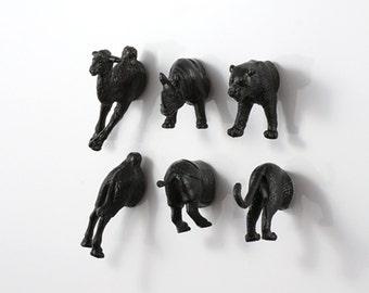 Wild Magnets - 6 piece set -  Jet Black Rhinoceros & Tiger and Camel