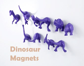 Mix and Match Head and Butt Pieces - Deep Purple 10 Dino magnets