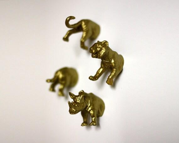 Jungle Wild Animal Magnets - 4 piece set in Gold Tiger & Rhinoceros (F4-2)