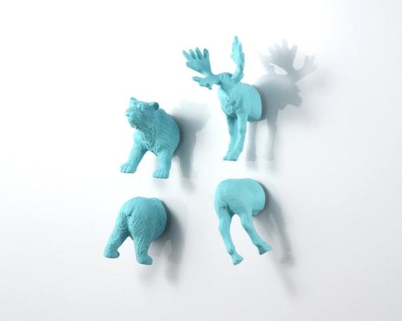 North American Animal Magnet Set - 4 piece set -  Matte Blue Moose and Bear Magnets