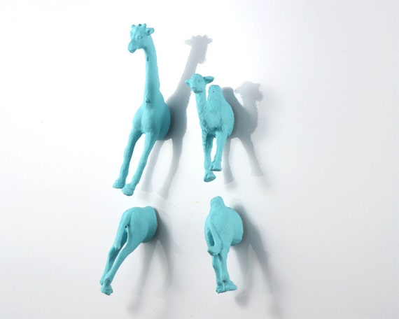 Safari Animal Magnet Set - 4 piece set -  Matte Blue Giraffe and Camel Magnets - man gift
