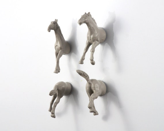 Wild Stallion Horse Magnet Set - 4 piece set - grey gray horses for a horse lover