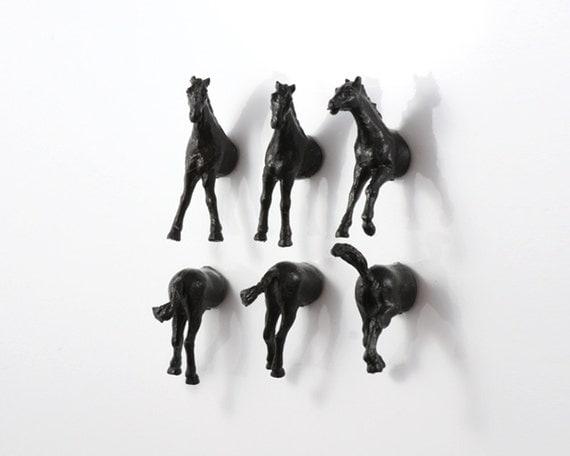Spooky Halloween Headless Horses - Magnet Set - 6 piece set - black horses
