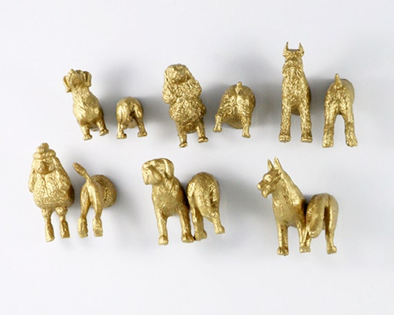 12 pack of gold DOG Magnets for your best friend's fridge - GOLD MAGNETS