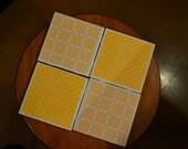 Handmade Ceramic coaster set (4) - MOD yellow- so cool