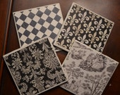 Handmade Ceramic coaster set (4) - fleur d lis, toile, shabby chic- muted black and cream, french country