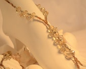 Bridal Barefoot Sandal - Tinted Golden Crystals with Tan Accent Beading