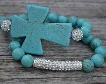 Turquoise set of 2 beaded bracelets with silver pave crystal balls, silver pave crystal bar and large turquoise cross.