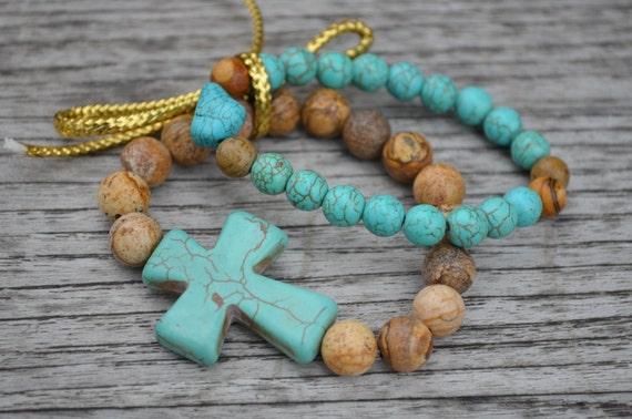 Set of 2 turquoise and picture jasper beaded bracelets with turquoise stone cross and turquoise nuggets.