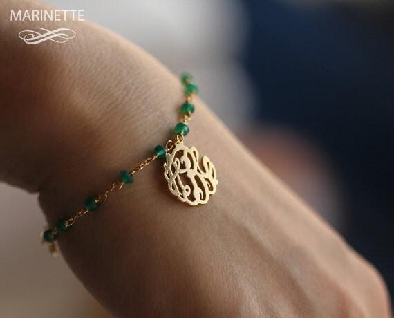 Monogram bracelet with Green Onyx gemstone- Personalize bracelet - Wedding bracelet - Bridesmaid bracelet - Custom monogram - Mother's Day