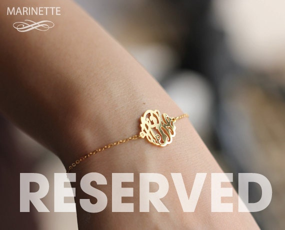 Reserved for Rebecca - Set of eight 5/8 inch monogram bracelets in 18k Gold plated silver - EMS shipping
