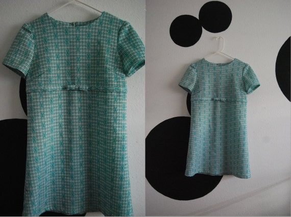 Retro 60s Vintage Blue Checkered Mini Baby Doll Dress