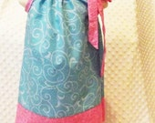Pillowcase Sundress in Turquoise and Pink with matching headband
