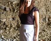 Pastel Purple Skirt with White Polka Dot trim
