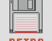 Retro Floppy Disk Cross Stitch Pattern ( Printable PDF ) - Immediate Download from Etsy - Computer Disk Data