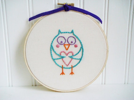 owl love hand embroidery pattern