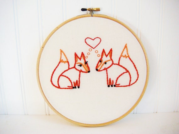 fox in love hand embroidery pattern