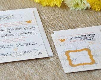 Victorian Hummingbird Wedding Invitation & RSVP
