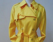 Vtg 1970s Yellow Rain Trench Coat by Fleet Street - Spring / Don't Get Caught in April Showers, Sz L
