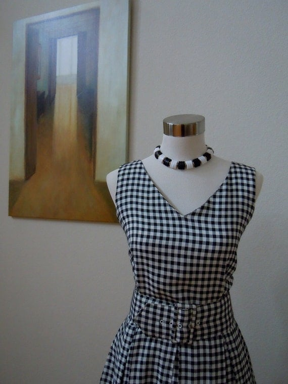 RESERVED for Liz / Vtg Black & White Gingham Dress with Built-in Petticoat / Retro, Rockabilly, Pin-up /40s-80s - Size M L
