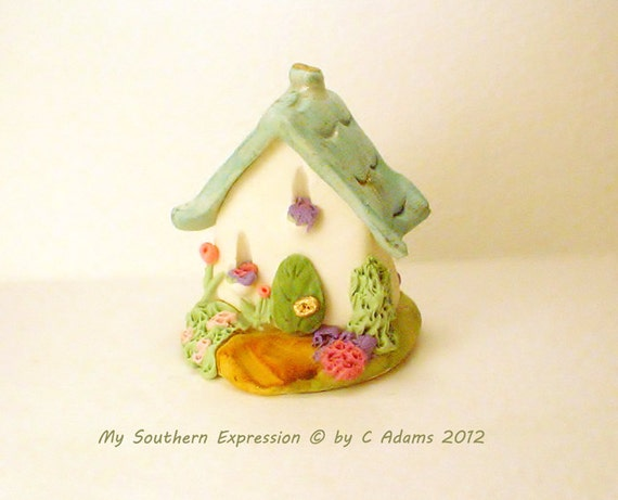 "Limited Edition Miniature OOAK Cottage Fairy Garden House ""Blue Bell Ridge "" by C Adams"