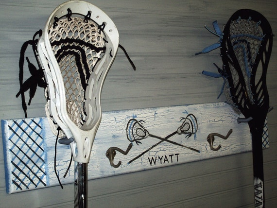 Lacrosse Sport Stick Hanger Equipment Organizer School Team Colors Personalized Lax Wall Rack Kids Room Decor