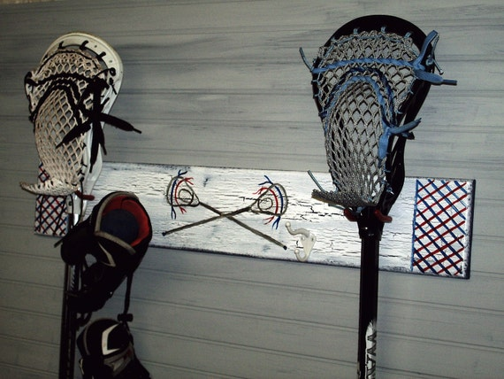 Lacrosse Stick Hanger Wall Rack Lax Team Colors Name Number Equipment Hooks Sports Theme Room Decor Personalized