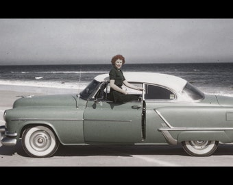 Vintage Photo: Girl Models 1953 Oldsmobile 88 on the Beach