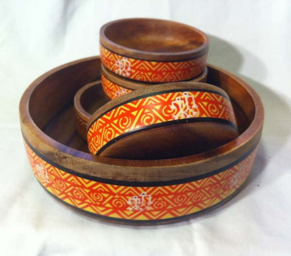 Primitive, Tribal, Orange and Yellow Wood Salad Bowl Set: Philippines