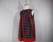 Girls Red Tartan Cotton Dress