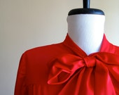 Vintage Valentine's Day Red Pussybow Blouse.
