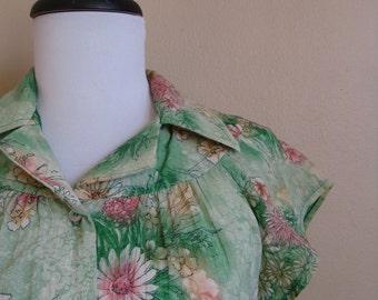 Vintage Floral Spring Blouse / Jonathan Martin /  Large