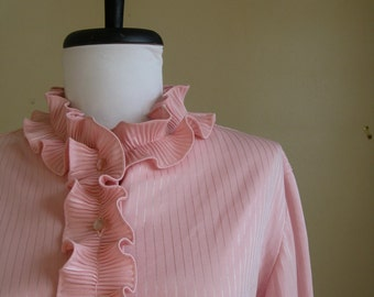Vintage Pink Ruffle Blouse / Feminine/ Large. Valentine's Day.