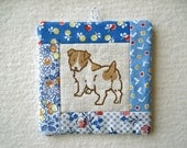 PATCHWORK WALL HANGING - hand lino printed Jack Russell Terrier, shade of blue