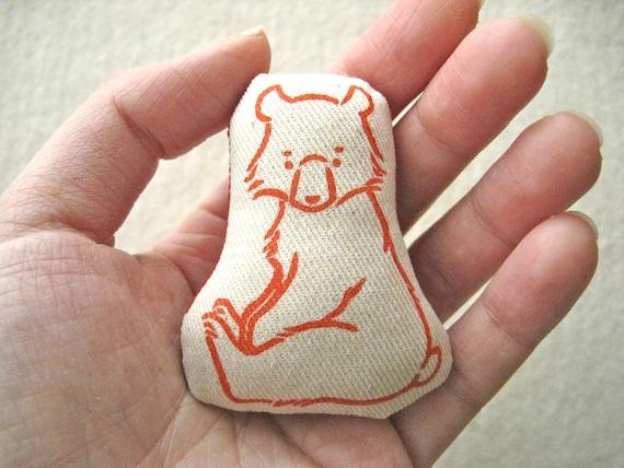 MINIATURE DOLL /SOFTIE -  hand lino printed, sitting bear cub (Red)