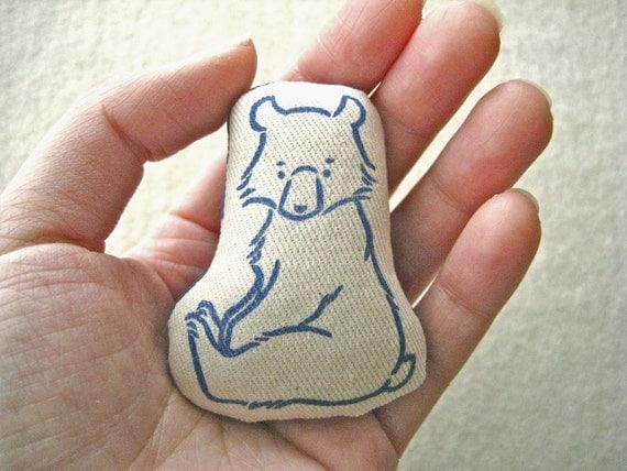 MINIATURE DOLL /SOFTIE -  hand lino printed, sitting bear cub (Blue)
