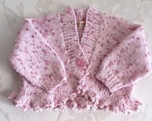 Pink baby sweater,Baby girl pink cardigan,pink baby Jumper.Pink Bolero.READY TO SHIP
