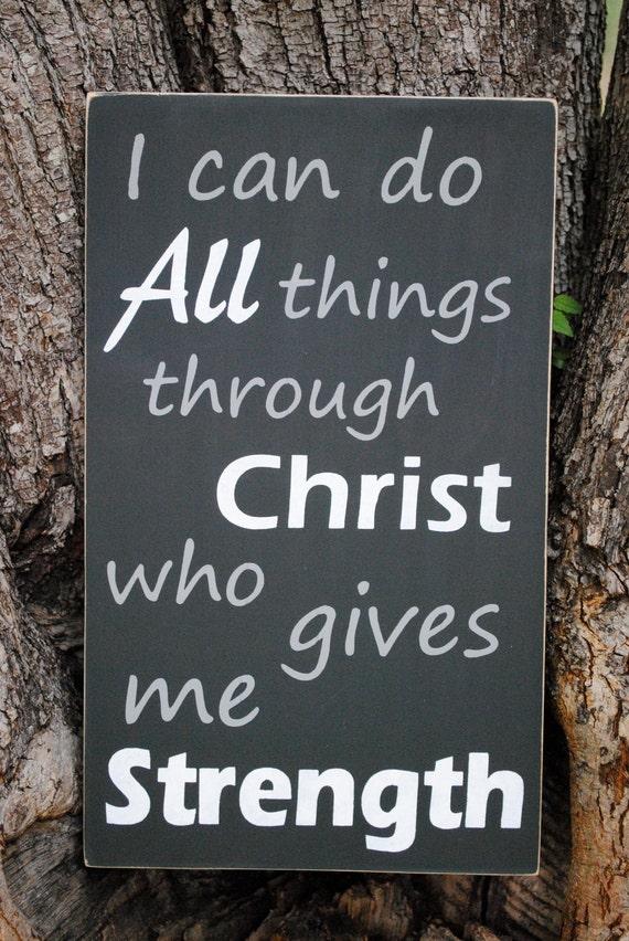 Philippians 4:13 Handpainted Scripture Art Sign in Charcoal Gray