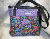 "Hound Me Original"" Quilted purple and lime bag"