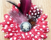 UpCycled Red Polka Dot Flower Lolita Rocker Feather Hair Clip Fascinator