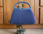 Vintage 50's Cobalt Blue Mid Century Mad Men Beaded Handbag tote S