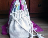 Vintage 50s Mountain Dell Woven White Draw String Tasseled Handbag Purse